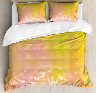 Flower Butterfly Colored Duvet Cover Set