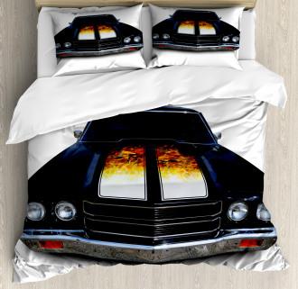 Vintage Retro Car Flame Duvet Cover Set