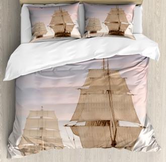 Wooden Sailing Ship Waves Duvet Cover Set