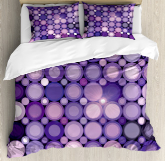 Geometric Violet Circles Duvet Cover Set