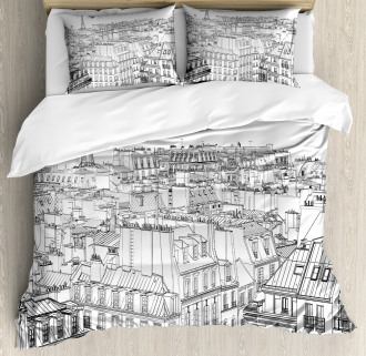 Roofs in Paris and Eiffel Duvet Cover Set