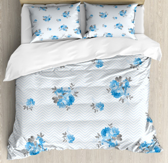 Blue Color Romantic Flower Duvet Cover Set