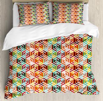 Hexagonal Shape Retro Duvet Cover Set