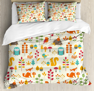 Owl Fox Squirrel Birds Duvet Cover Set