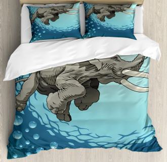 Elephant in Tropic Ocean Duvet Cover Set