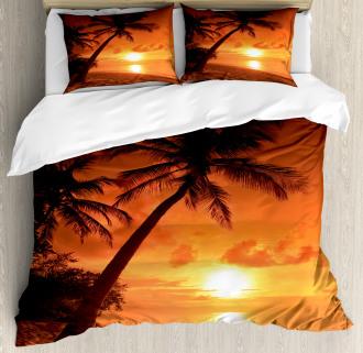 Twilight Coconut Palms Duvet Cover Set