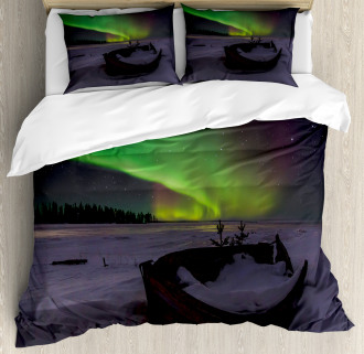 Boat and Galaxy Duvet Cover Set