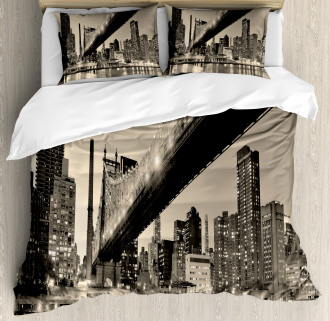 NYC Night Bridge View Duvet Cover Set