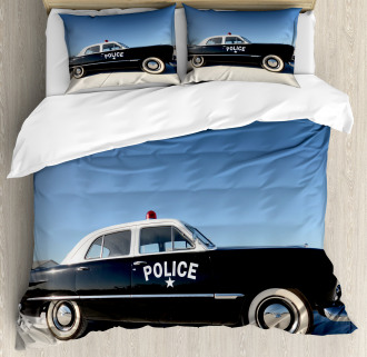 Old Police Car Digital Duvet Cover Set