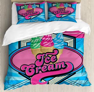 Ice Cream Illustration Duvet Cover Set