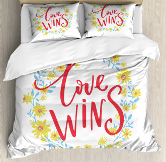 Love Wins Floral Wreath Duvet Cover Set