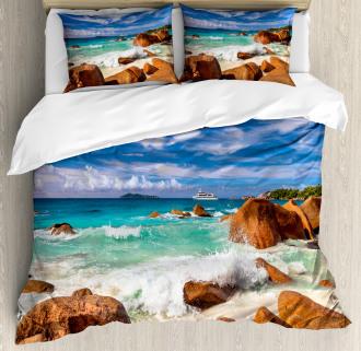 Rocky Coast Seychelles Duvet Cover Set