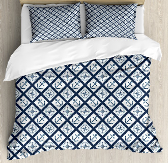Anchor Windrose Icons Duvet Cover Set