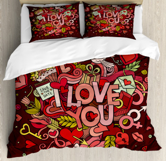 Funky Hearts Arrows Duvet Cover Set