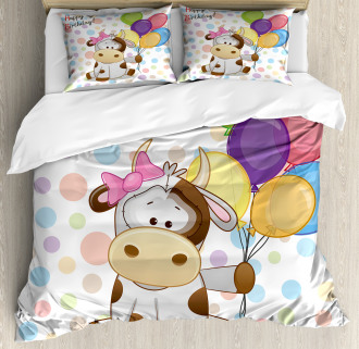 Baby Cow and Balloons Duvet Cover Set