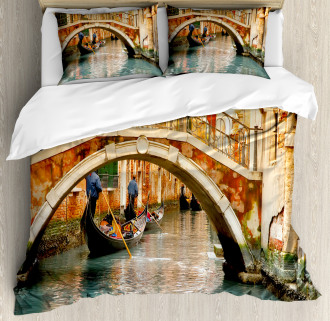 Ancient Bridge Gondola Duvet Cover Set