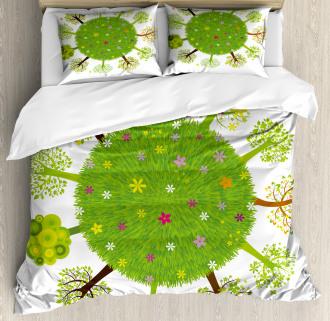 Earth Duvet Cover Various Green Trees Bloom Print