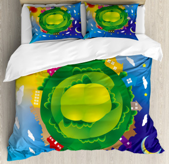 Earth Duvet Cover Cartoon Day and Night Print