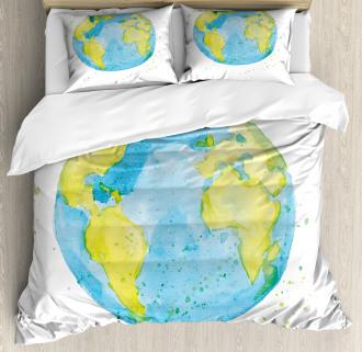Watercolor Style Planet Duvet Cover Set
