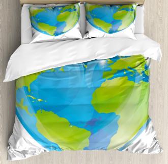 Vibrant Globe Heart Shape Duvet Cover Set
