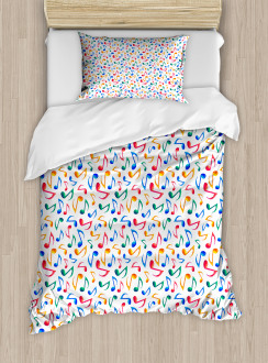 Cute Notes Watercolor Duvet Cover Set