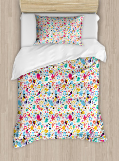 Happiness Flowers Stars Duvet Cover Set