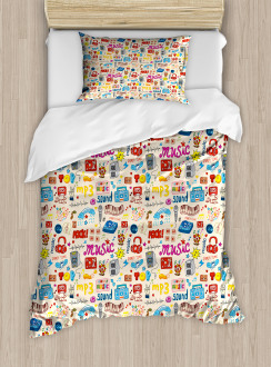 Retro Pop Art Style Icons Duvet Cover Set