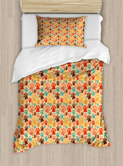 Colorful Paw Print Duvet Cover Set