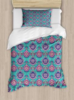 Asian Floral Motifs Duvet Cover Set
