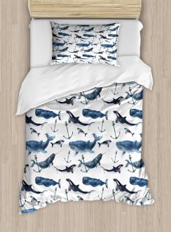 Orcas and Blue Whales Duvet Cover Set
