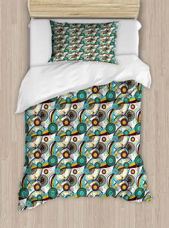 Colorful Bullseye Circles Duvet Cover Set