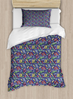 Cartoon Colorful Notes Duvet Cover Set