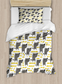 Sketch Style Canine Pattern Duvet Cover Set