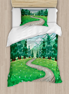 Pathway among Pine Trees Duvet Cover Set
