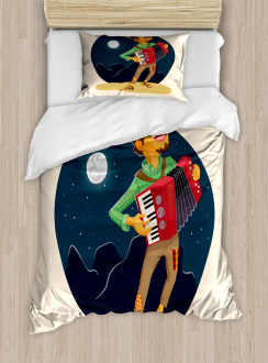 Cheerful Accordion Player Duvet Cover Set