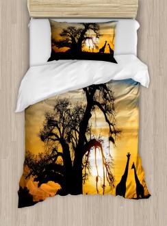 Giraffes Baobab Tree Duvet Cover Set