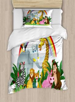 Animals Under Rainbow Duvet Cover Set