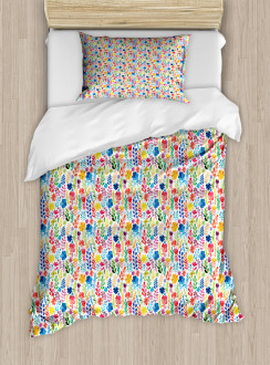 Tulips Roses and Pansies Duvet Cover Set