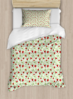 Twiggy Poppy Flowers Duvet Cover Set