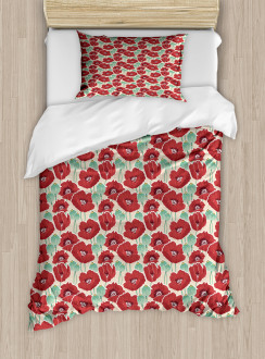 Watercolor Effect Poppy Duvet Cover Set
