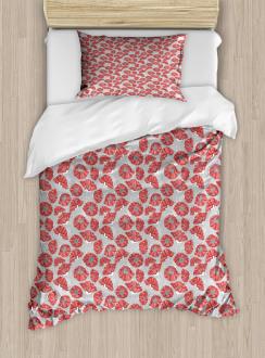 Poppy Petals Polka Dots Duvet Cover Set