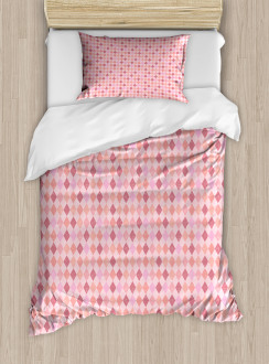 Pink Diamond Shape Duvet Cover Set