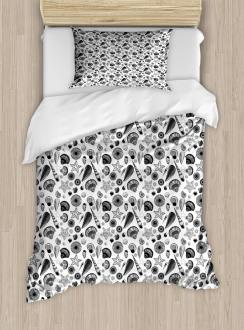 Black and White Clams Duvet Cover Set