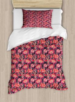 Asian Oriental Flowers Duvet Cover Set