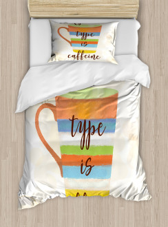 Caffeine Quote Retro Mug Duvet Cover Set
