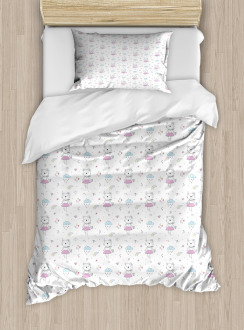 Cartoon Cat Kitten Lady Duvet Cover Set