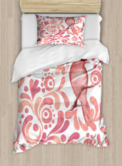 Salmon Colored Pattern Duvet Cover Set