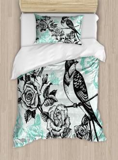 Mockingbird on Rose Tree Duvet Cover Set