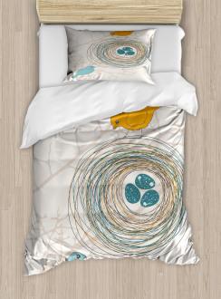 Blue Eggs in Birds Nest Duvet Cover Set