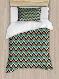 Retro Color Zigzag Line Duvet Cover Set